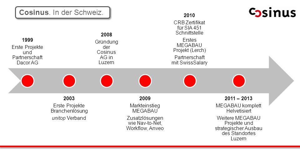 Inh aber gefü hrt Cosinus. In der Schweiz. 1999 Erste Projekte und Partnerschaft Dacor AG 2003 Erste Projekte Branchenlösung unitop Verband 2008 Gründ