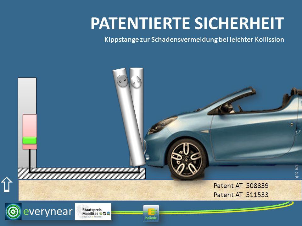 copyright everynear 2013 PATENTIERTE SICHERHEIT Kippstange zur Schadensvermeidung bei leichter Kollission Patent AT 508839 Patent AT 511533