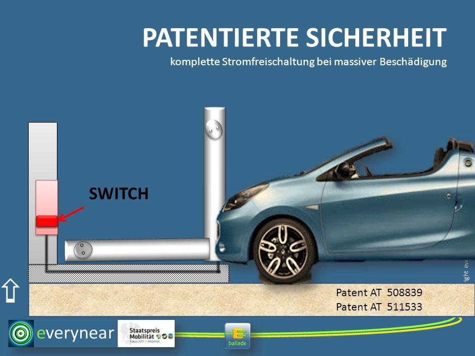 copyright everynear 2013 PATENTIERTE SICHERHEIT komplette Stromfreischaltung bei massiver Beschädigung SWITCH Patent AT 508839 Patent AT 511533