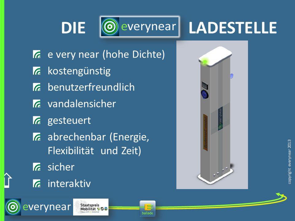 copyright everynear 2013 e very near (hohe Dichte) kostengünstig benutzerfreundlich vandalensicher gesteuert abrechenbar (Energie, Flexibilität und Ze