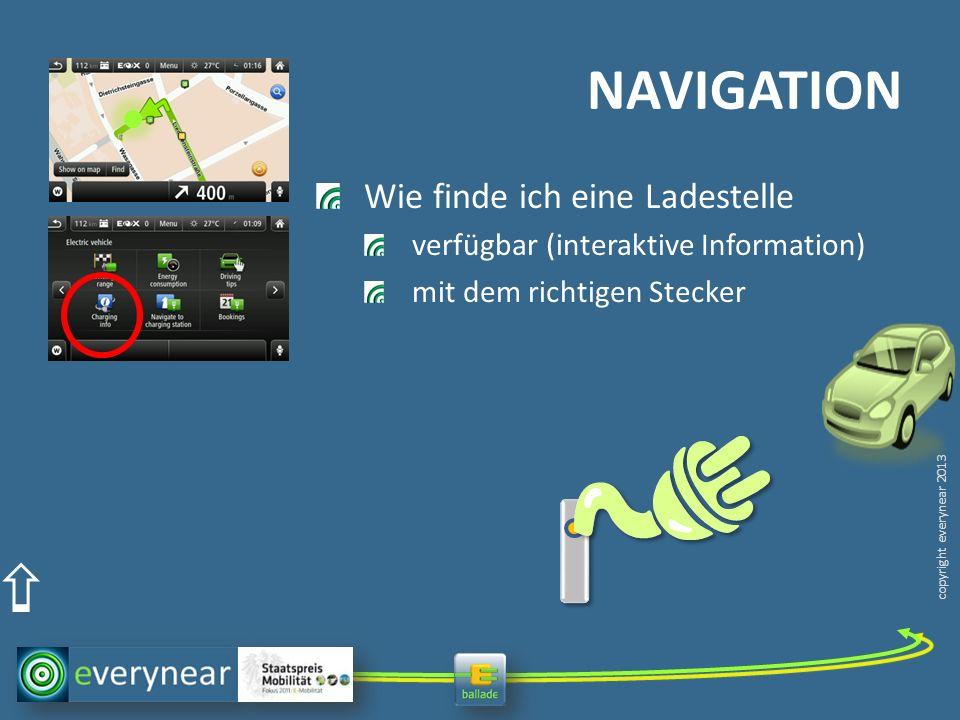 copyright everynear 2013 Wie finde ich eine Ladestelle verfügbar (interaktive Information) mit dem richtigen Stecker NAVIGATION
