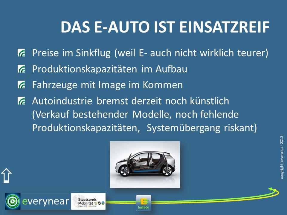 copyright everynear 2013 DAS E-AUTO IST EINSATZREIF Preise im Sinkflug (weil E- auch nicht wirklich teurer) Produktionskapazitäten im Aufbau Fahrzeuge