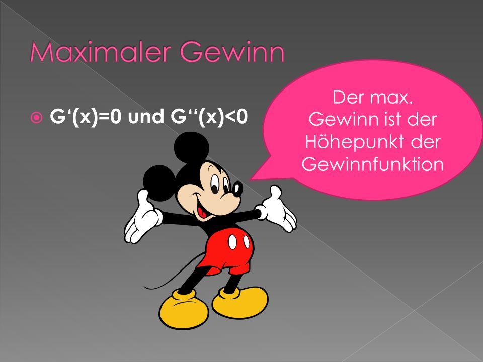 G(x)=0 und G(x)<0 Der max. Gewinn ist der Höhepunkt der Gewinnfunktion