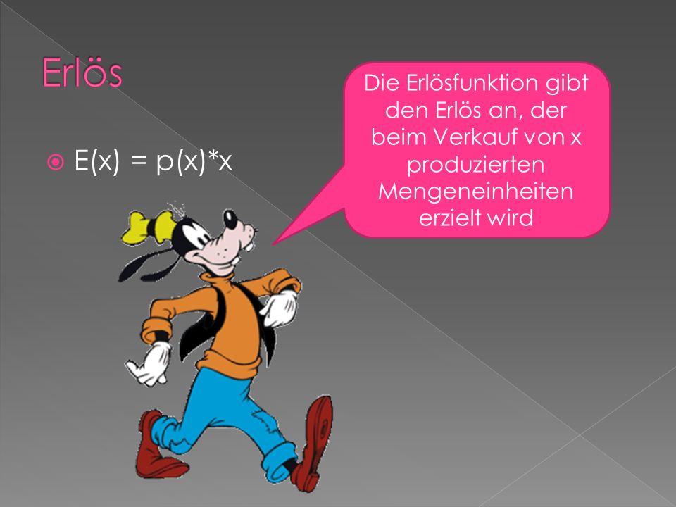 E(x) = p(x)*x Die Erlösfunktion gibt den Erlös an, der beim Verkauf von x produzierten Mengeneinheiten erzielt wird
