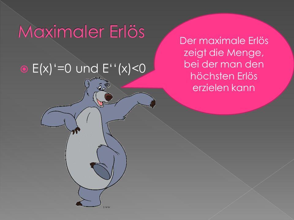 E(x)=0 und E(x)<0 Der maximale Erlös zeigt die Menge, bei der man den höchsten Erlös erzielen kann