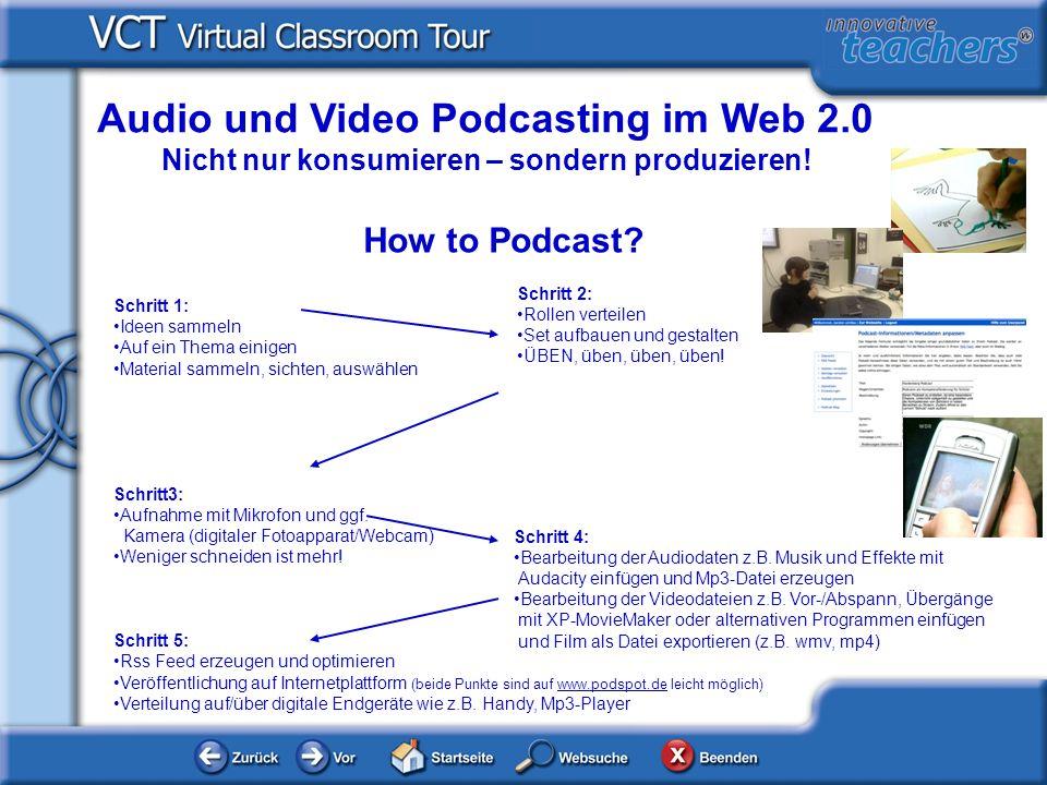 Audio und Video Podcasting im Web 2.0 Nicht nur konsumieren – sondern produzieren.