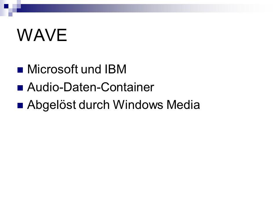 WAVE Microsoft und IBM Audio-Daten-Container Abgelöst durch Windows Media