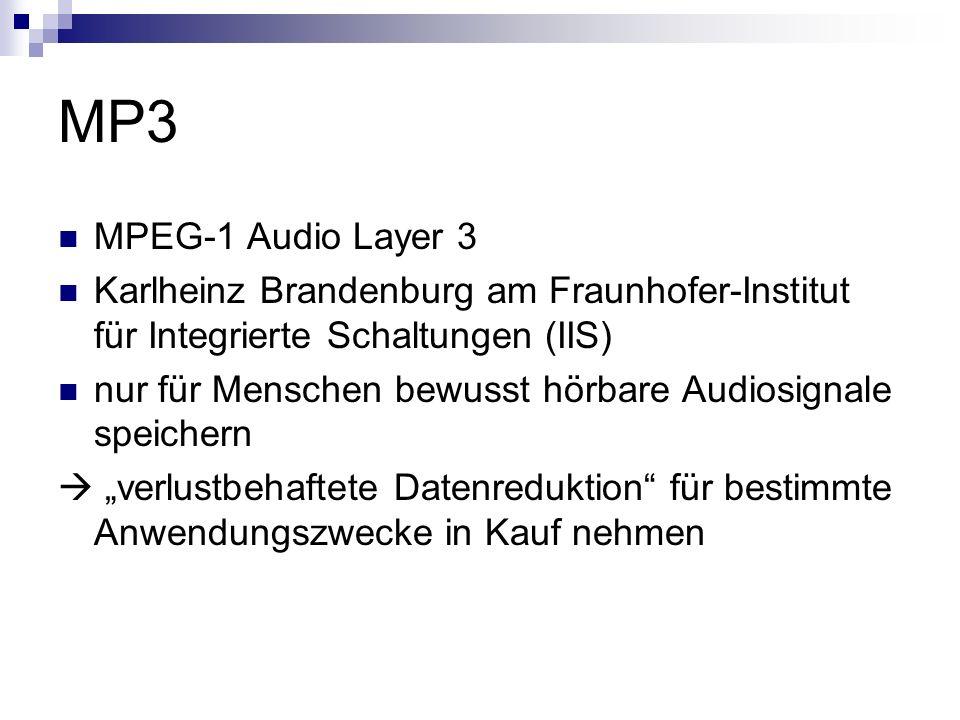 MP3 MPEG-1 Audio Layer 3 Karlheinz Brandenburg am Fraunhofer-Institut für Integrierte Schaltungen (IIS) nur für Menschen bewusst hörbare Audiosignale