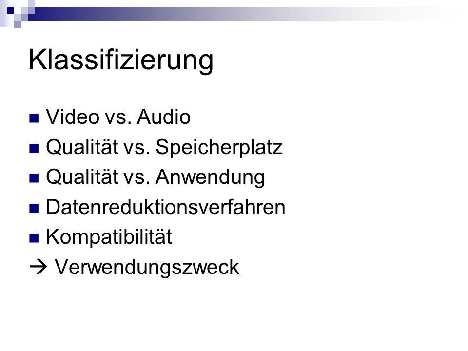 Klassifizierung Video vs. Audio Qualität vs. Speicherplatz Qualität vs. Anwendung Datenreduktionsverfahren Kompatibilität Verwendungszweck