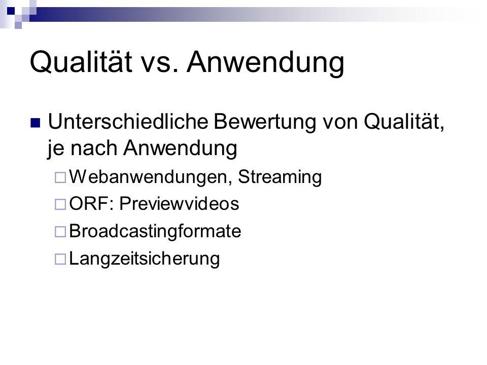 Qualität vs. Anwendung Unterschiedliche Bewertung von Qualität, je nach Anwendung Webanwendungen, Streaming ORF: Previewvideos Broadcastingformate Lan