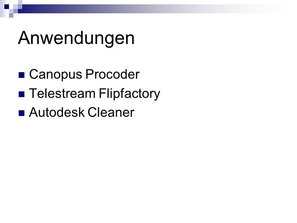 Anwendungen Canopus Procoder Telestream Flipfactory Autodesk Cleaner