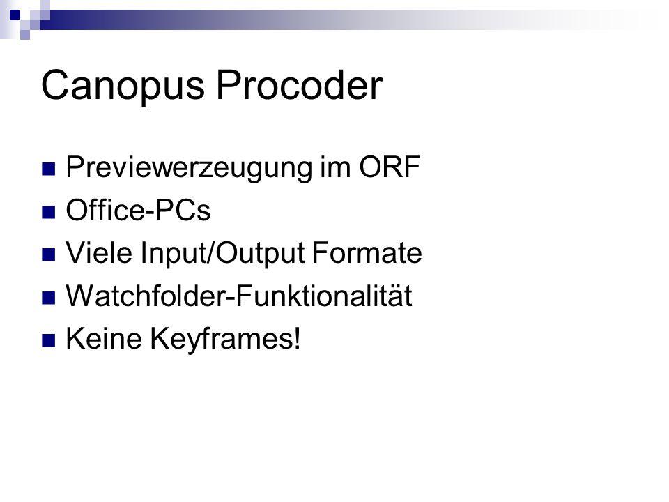 Canopus Procoder Previewerzeugung im ORF Office-PCs Viele Input/Output Formate Watchfolder-Funktionalität Keine Keyframes!