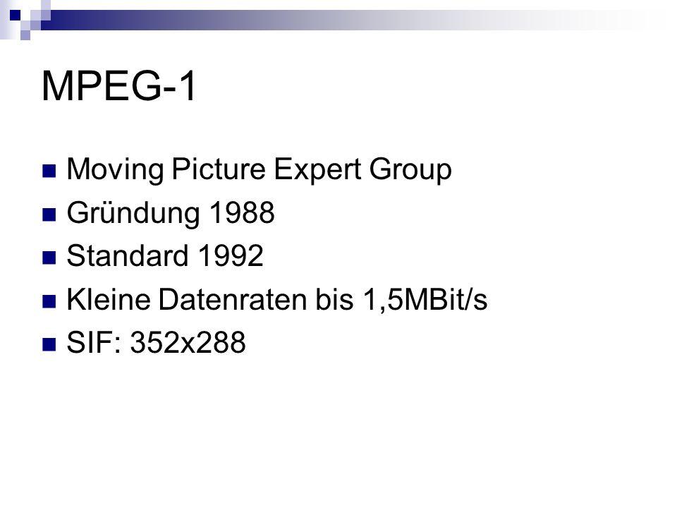 MPEG-1 Moving Picture Expert Group Gründung 1988 Standard 1992 Kleine Datenraten bis 1,5MBit/s SIF: 352x288