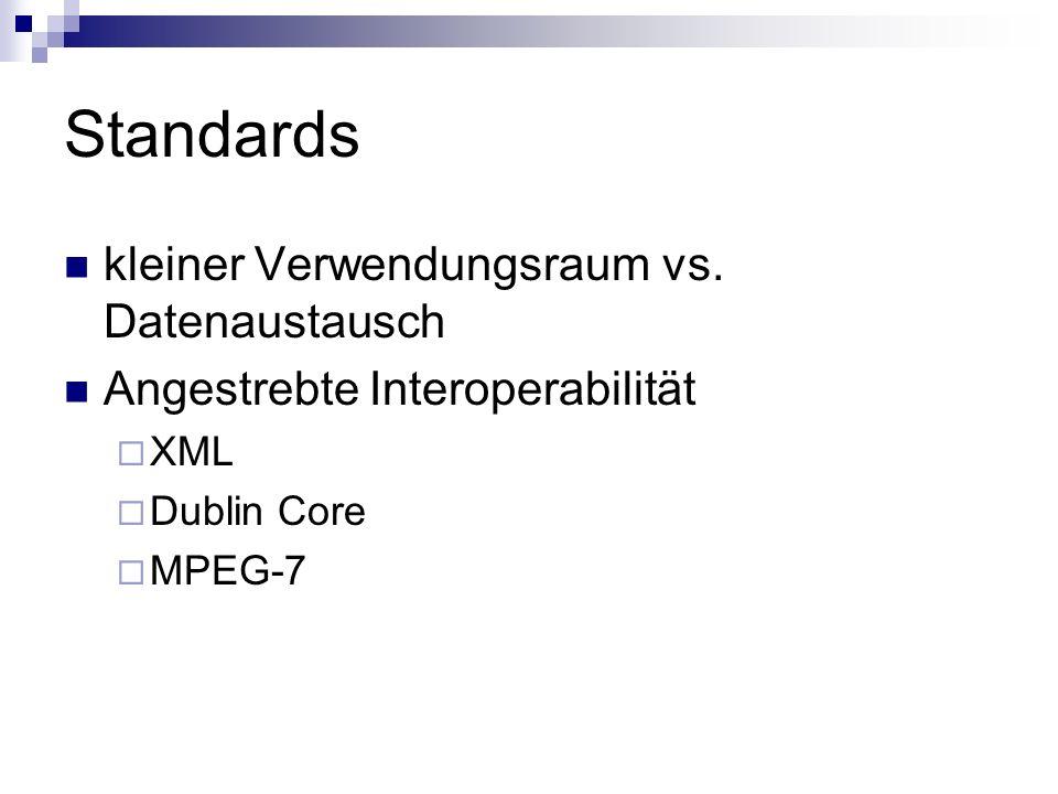 Standards kleiner Verwendungsraum vs. Datenaustausch Angestrebte Interoperabilität XML Dublin Core MPEG-7