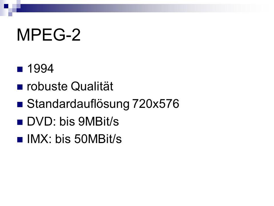 MPEG-2 1994 robuste Qualität Standardauflösung 720x576 DVD: bis 9MBit/s IMX: bis 50MBit/s
