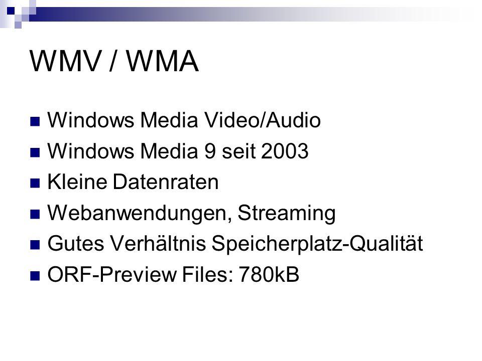 WMV / WMA Windows Media Video/Audio Windows Media 9 seit 2003 Kleine Datenraten Webanwendungen, Streaming Gutes Verhältnis Speicherplatz-Qualität ORF-