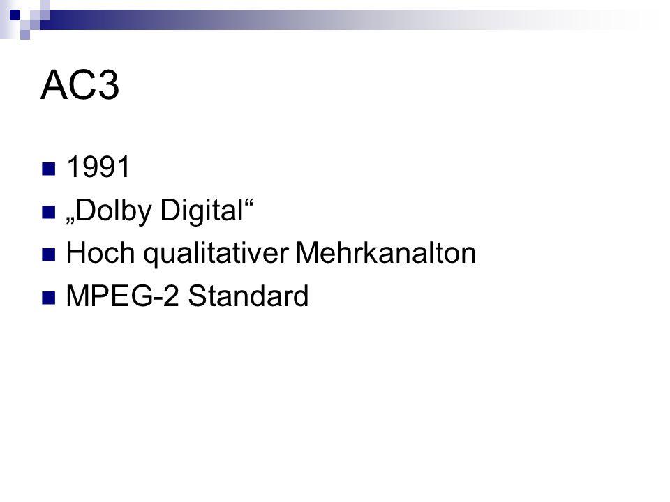 AC3 1991 Dolby Digital Hoch qualitativer Mehrkanalton MPEG-2 Standard