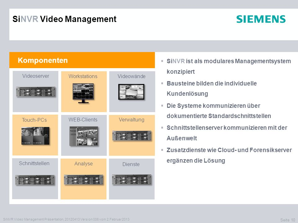 SiNVR Video Management Präsentation, 20120413 Version 006 vom 2.Februar 2013 Seite 10 Komponenten SiNVR Video Management SiNVR ist als modulares Manag