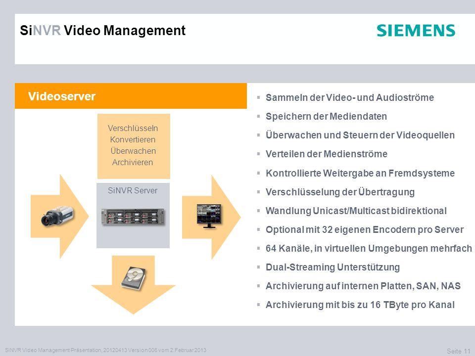 SiNVR Video Management Präsentation, 20120413 Version 006 vom 2.Februar 2013 Seite 11 Videoserver Sammeln der Video- und Audioströme Speichern der Mediendaten Überwachen und Steuern der Videoquellen Verteilen der Medienströme Kontrollierte Weitergabe an Fremdsysteme Verschlüsselung der Übertragung Wandlung Unicast/Multicast bidirektional Optional mit 32 eigenen Encodern pro Server 64 Kanäle, in virtuellen Umgebungen mehrfach Dual-Streaming Unterstützung Archivierung auf internen Platten, SAN, NAS Archivierung mit bis zu 16 TByte pro Kanal XXXX SiNVR Server SiNVR Video Management Verschlüsseln Konvertieren Überwachen Archivieren