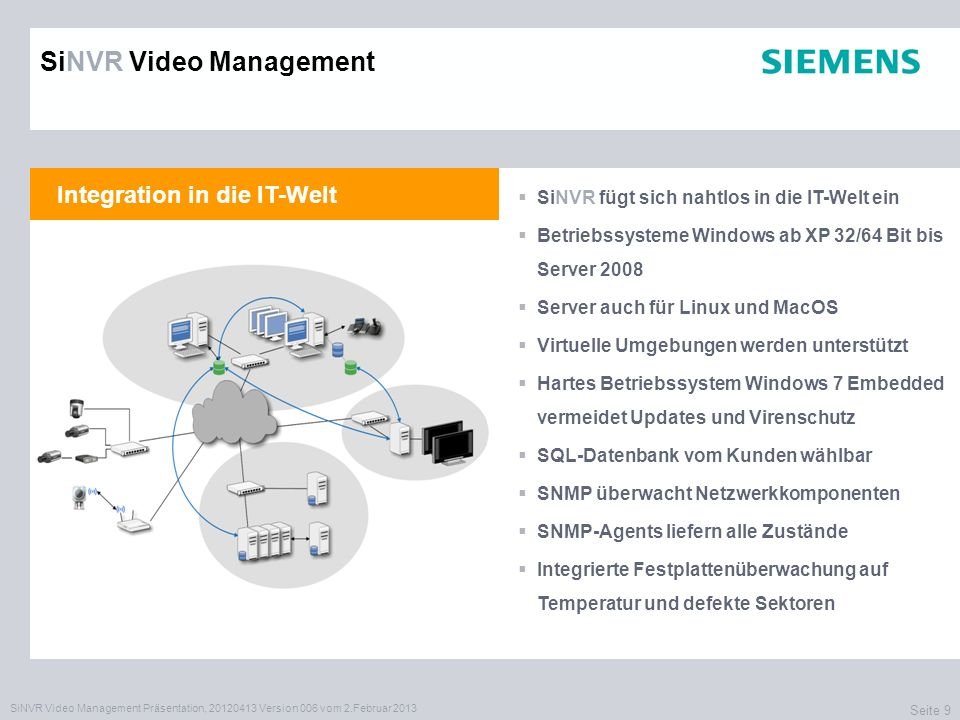SiNVR Video Management Präsentation, 20120413 Version 006 vom 2.Februar 2013 Seite 9 Integration in die IT-Welt SiNVR fügt sich nahtlos in die IT-Welt
