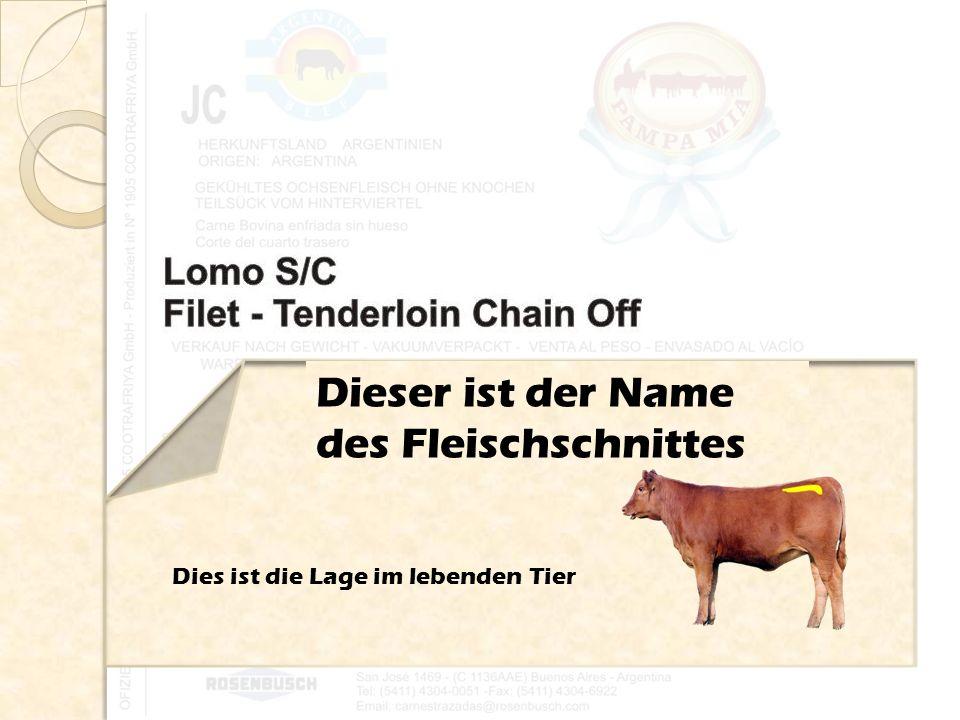 Dieser ist der Name des Fleischschnittes Dies ist die Lage im lebenden Tier