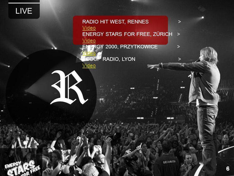 LIVE 6 RADIO HIT WEST, RENNES > Video Video ENERGY STARS FOR FREE, ZÜRICH > Video Video ENERGY 2000, PRZYTKOWICE > Video Video SCOOP RADIO, LYON > Vid