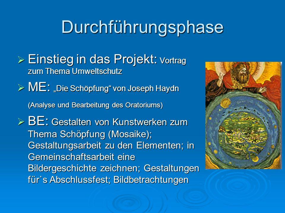 Durchführungsphase Einstieg in das Projekt: Vortrag zum Thema Umweltschutz Einstieg in das Projekt: Vortrag zum Thema Umweltschutz ME: Die Schöpfung v