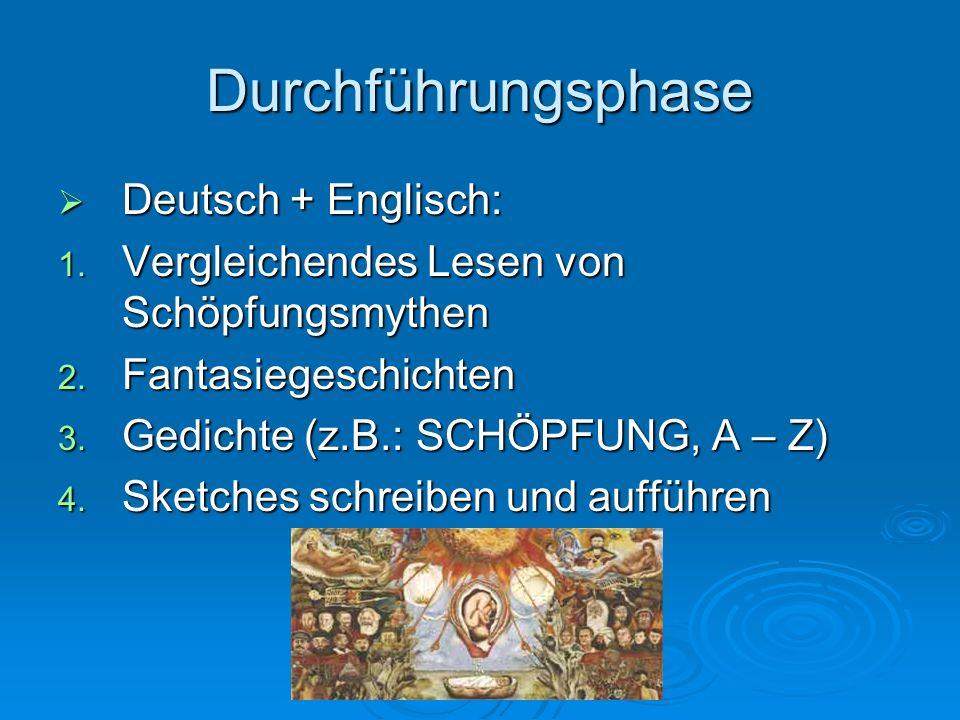 Durchführungsphase Deutsch + Englisch: Deutsch + Englisch: 1. Vergleichendes Lesen von Schöpfungsmythen 2. Fantasiegeschichten 3. Gedichte (z.B.: SCHÖ