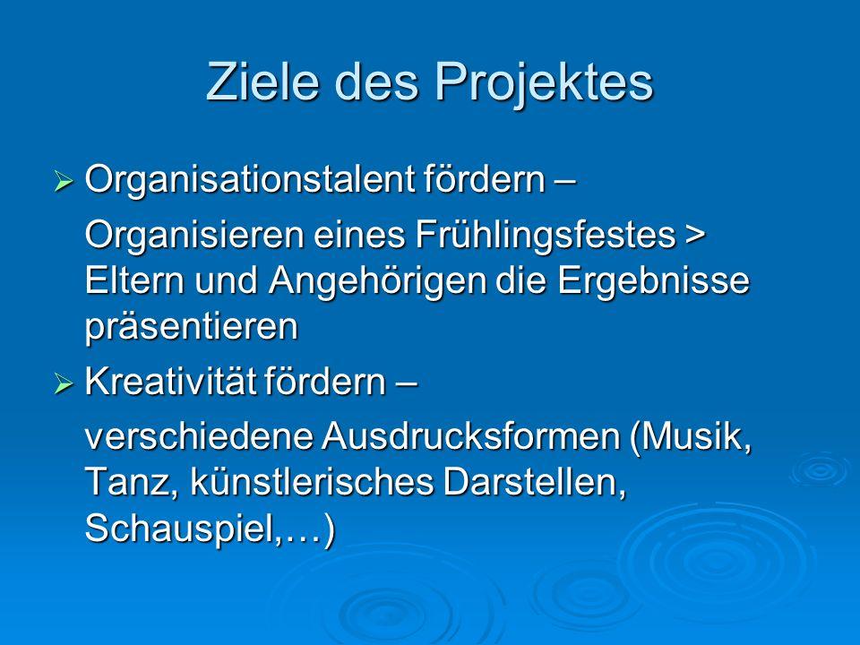Ziele des Projektes Organisationstalent fördern – Organisationstalent fördern – Organisieren eines Frühlingsfestes > Eltern und Angehörigen die Ergebn