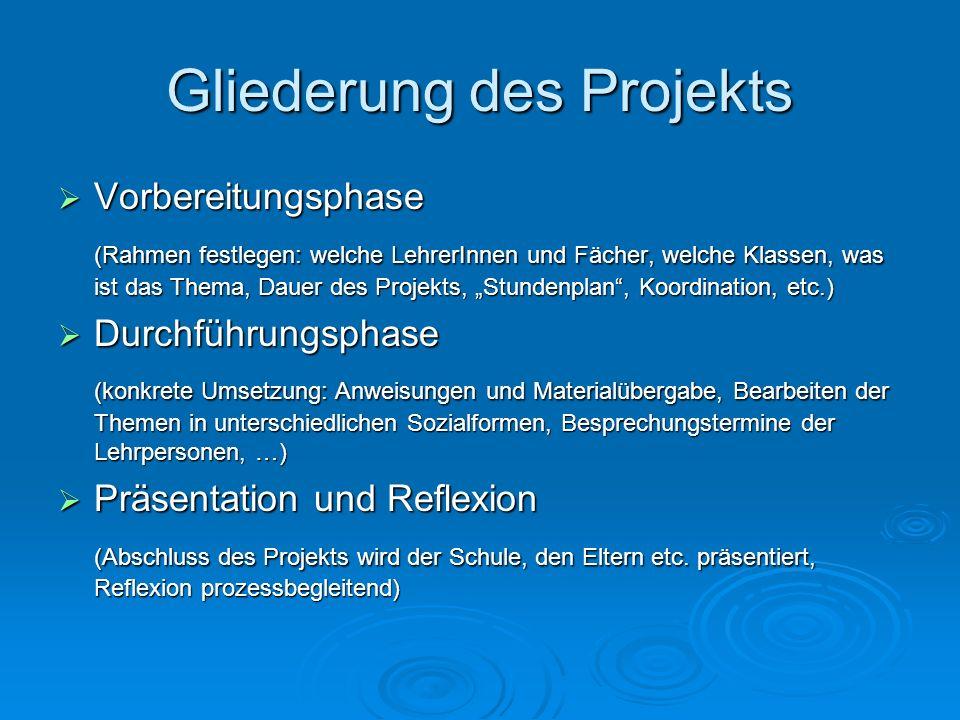 Gliederung des Projekts Vorbereitungsphase Vorbereitungsphase (Rahmen festlegen: welche LehrerInnen und Fächer, welche Klassen, was ist das Thema, Dau