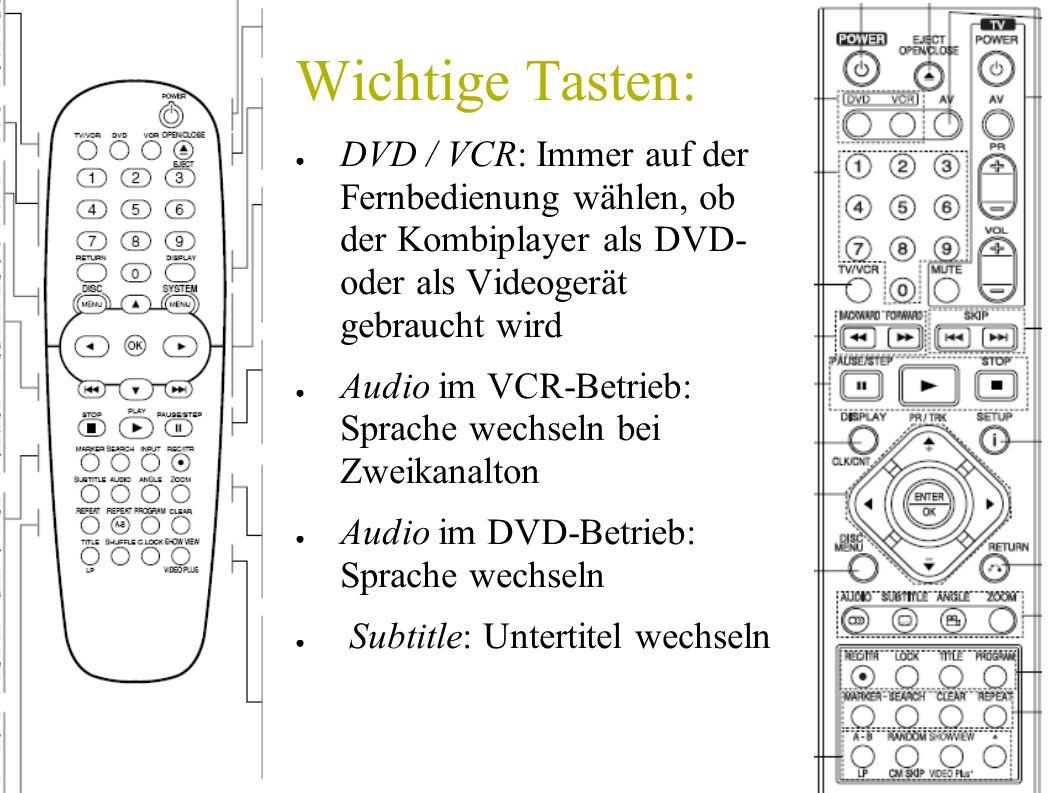 Wichtige Tasten: DVD / VCR: Immer auf der Fernbedienung wählen, ob der Kombiplayer als DVD- oder als Videogerät gebraucht wird Audio im VCR-Betrieb: S