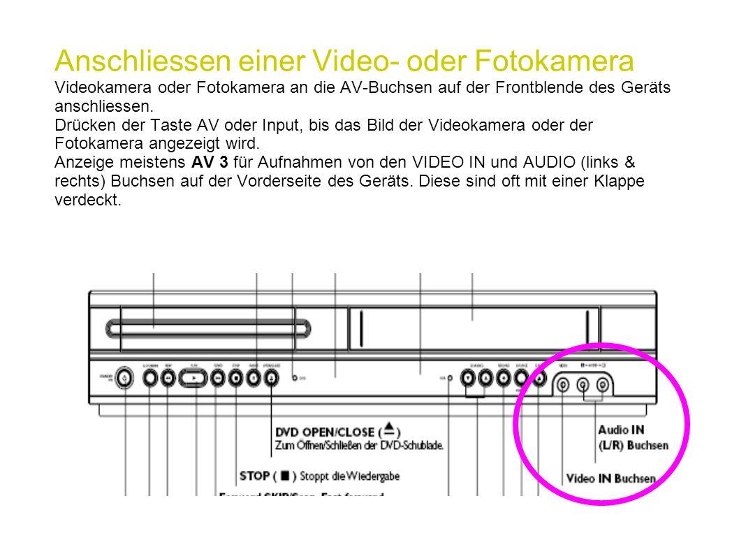 Anschliessen einer Video- oder Fotokamera Videokamera oder Fotokamera an die AV-Buchsen auf der Frontblende des Geräts anschliessen. Drücken der Taste