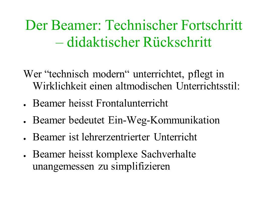 Der Beamer: Technischer Fortschritt – didaktischer Rückschritt Wer technisch modern unterrichtet, pflegt in Wirklichkeit einen altmodischen Unterricht
