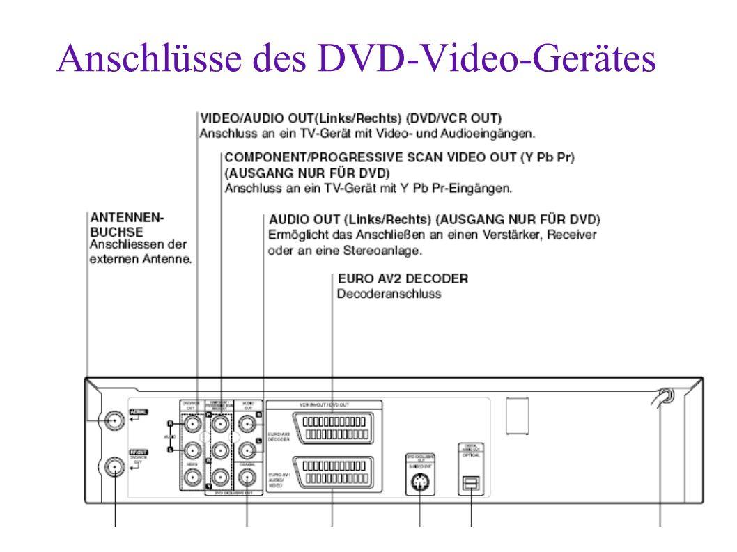 Anschlüsse des DVD-Video-Gerätes