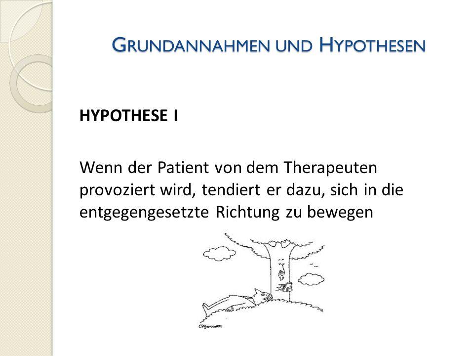 G RUNDANNAHMEN UND H YPOTHESEN HYPOTHESE I Wenn der Patient von dem Therapeuten provoziert wird, tendiert er dazu, sich in die entgegengesetzte Richtu