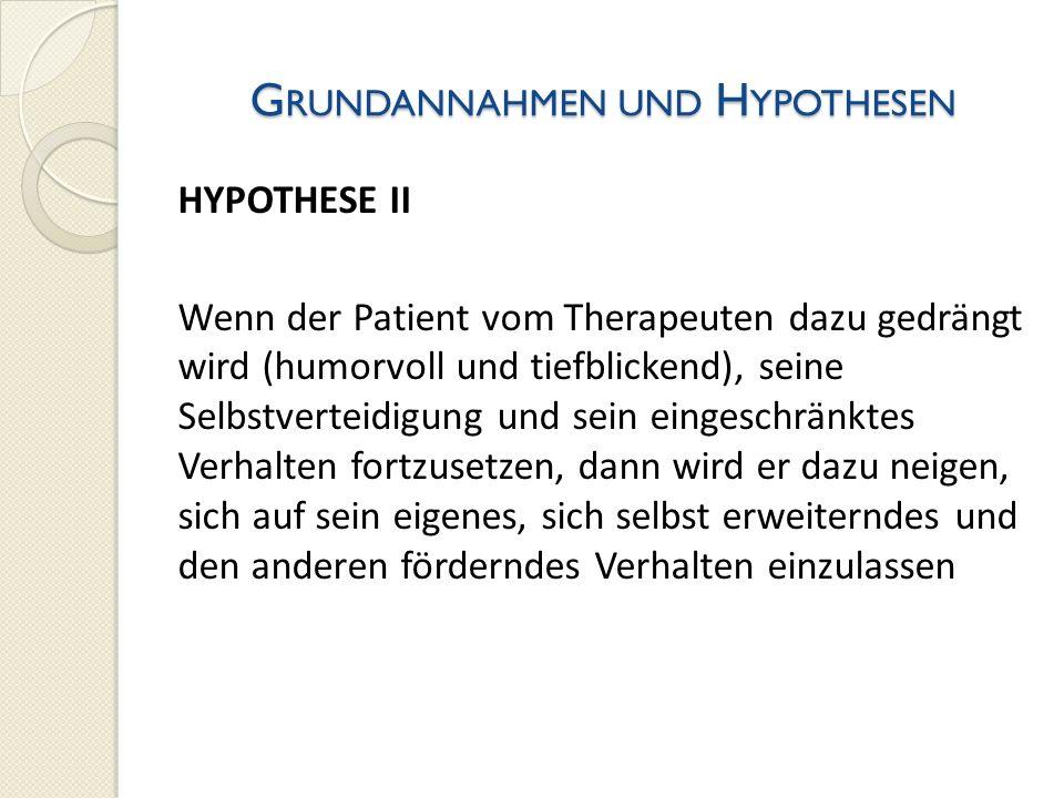G RUNDANNAHMEN UND H YPOTHESEN HYPOTHESE II Wenn der Patient vom Therapeuten dazu gedrängt wird (humorvoll und tiefblickend), seine Selbstverteidigung