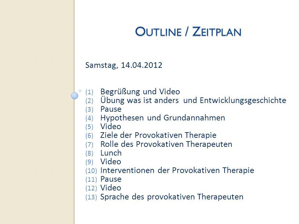 O UTLINE / Z EITPLAN Sonntag, 15.04.2012 (1) Morgenrunde Video (2) Humor und Provokative Therapie (3) Pause (4) Demonstration und Übungen What is Wrong About That.