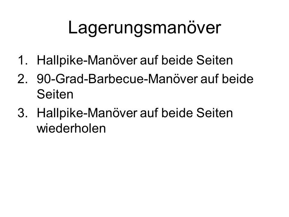 Lagerungsmanöver 1.Hallpike-Manöver auf beide Seiten 2.90-Grad-Barbecue-Manöver auf beide Seiten 3.Hallpike-Manöver auf beide Seiten wiederholen