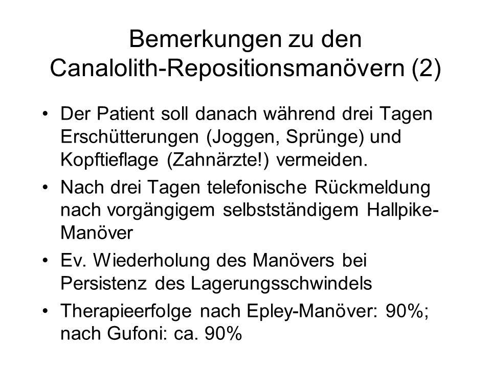 Bemerkungen zu den Canalolith-Repositionsmanövern (2) Der Patient soll danach während drei Tagen Erschütterungen (Joggen, Sprünge) und Kopftieflage (Zahnärzte!) vermeiden.