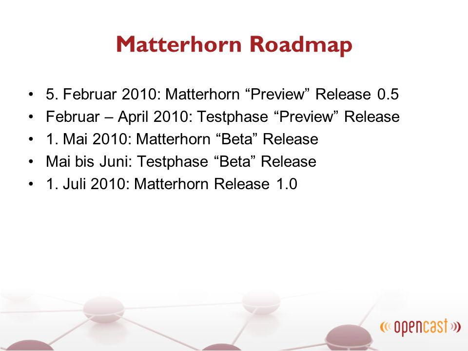 Matterhorn Roadmap 5. Februar 2010: Matterhorn Preview Release 0.5 Februar – April 2010: Testphase Preview Release 1. Mai 2010: Matterhorn Beta Releas