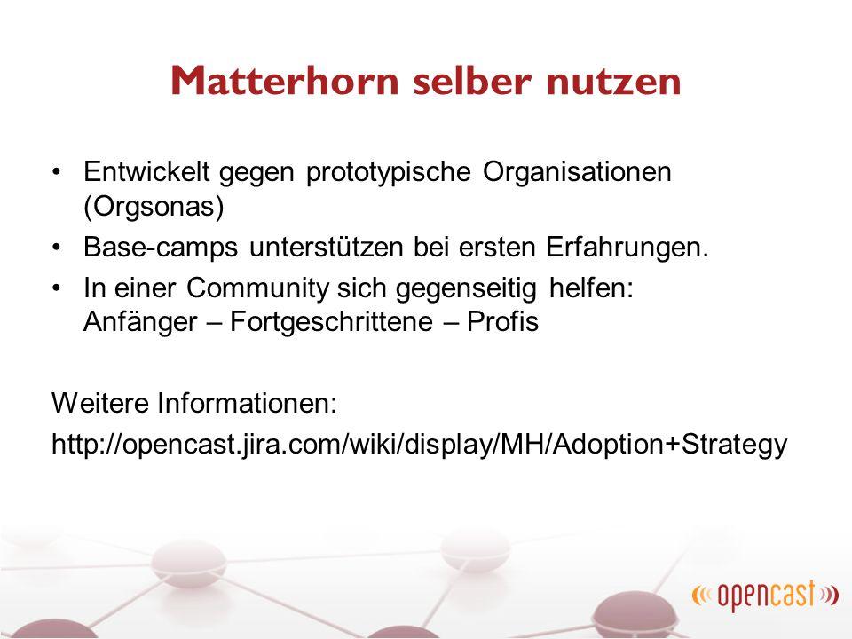 Matterhorn selber nutzen Entwickelt gegen prototypische Organisationen (Orgsonas) Base-camps unterstützen bei ersten Erfahrungen. In einer Community s