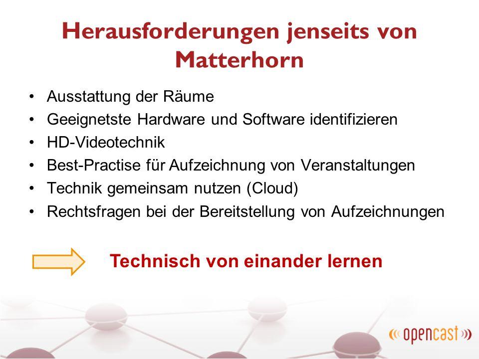 Herausforderungen jenseits von Matterhorn Ausstattung der Räume Geeignetste Hardware und Software identifizieren HD-Videotechnik Best-Practise für Auf
