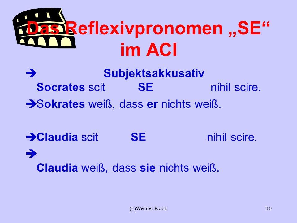 (c)Werner Köck9 Kongruenz (Übereinstimmung zw. Akk. und Prädikatsnomen) Puto Lucium beatum esse. Ich glaube, dass Lucius glücklich ist. Puto Iuliam be
