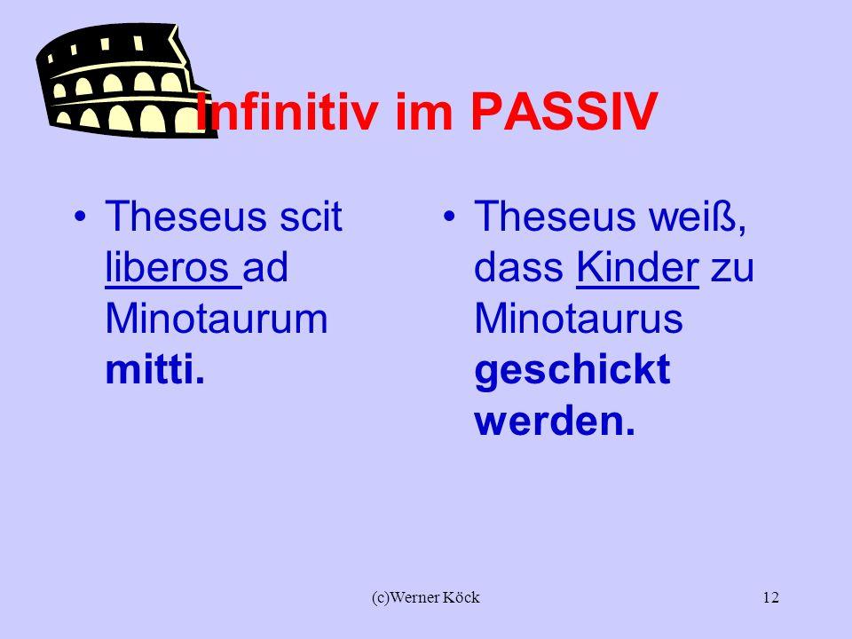 (c)Werner Köck11 Das Reflexivpronomen SE im ACI Homines sciunt SE nihil scire. Die Menschen wissen, dass sie nichts wissen. SE bezieht sich meist auf