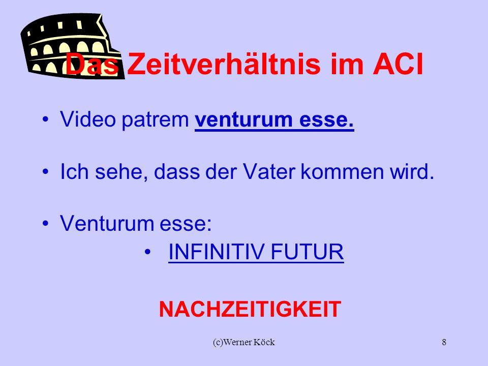 (c)Werner Köck7 Das Zeitverhältnis im ACI Video patrem venisse Ich sehe, dass der Vater gekommen ist. venisse: INFINITIV PERFEKT VORZEITIGKEIT