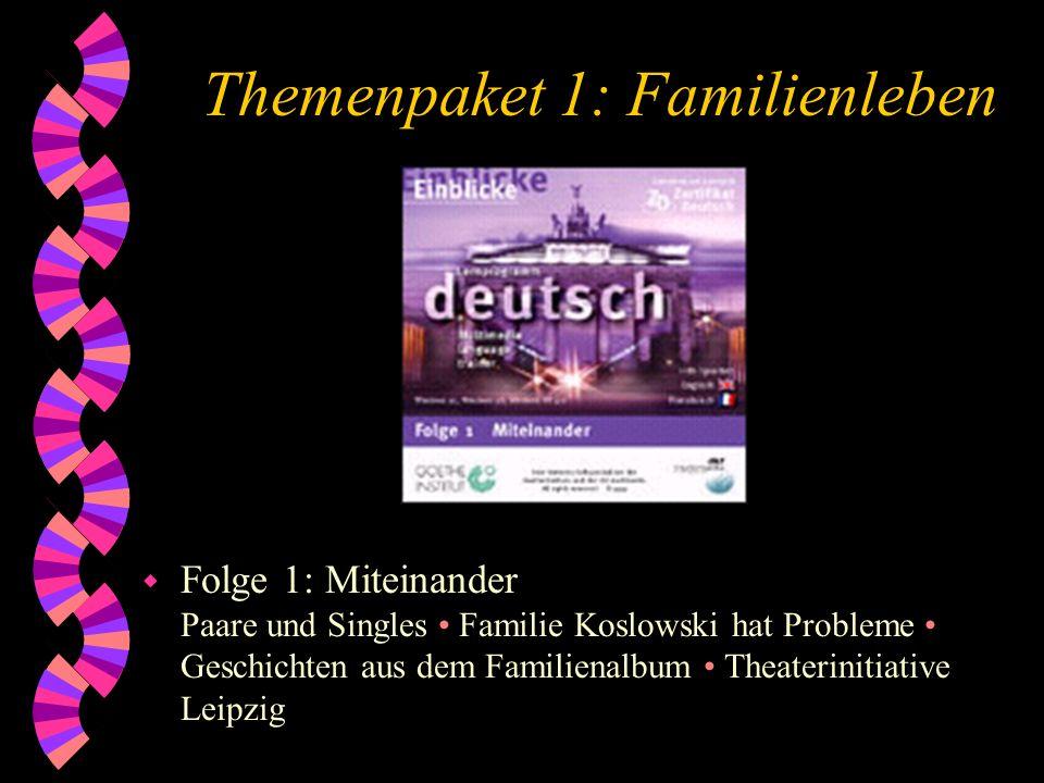 Themenpaket 1: Familienleben w Folge 1: Miteinander Paare und Singles Familie Koslowski hat Probleme Geschichten aus dem Familienalbum Theaterinitiati