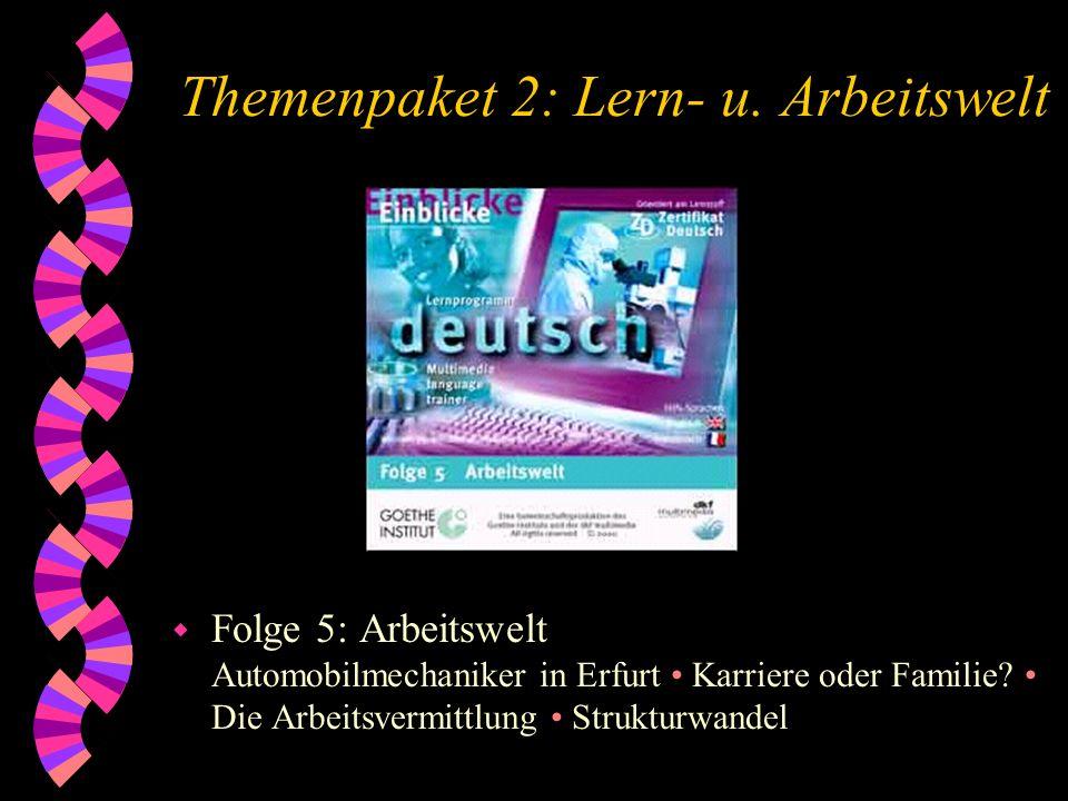 Themenpaket 2: Lern- u. Arbeitswelt w Folge 5: Arbeitswelt Automobilmechaniker in Erfurt Karriere oder Familie? Die Arbeitsvermittlung Strukturwandel