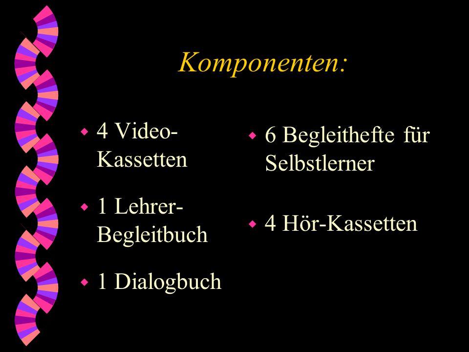 Die Videokassetten: 19 Folgen, jede bestehend aus: w 1 Collage w 1 historischen Baustein w 2 Dokumentar- Bausteinen w 1 - 2 Spielfilm- Bausteinen w Moderation zwischen den Bausteinen