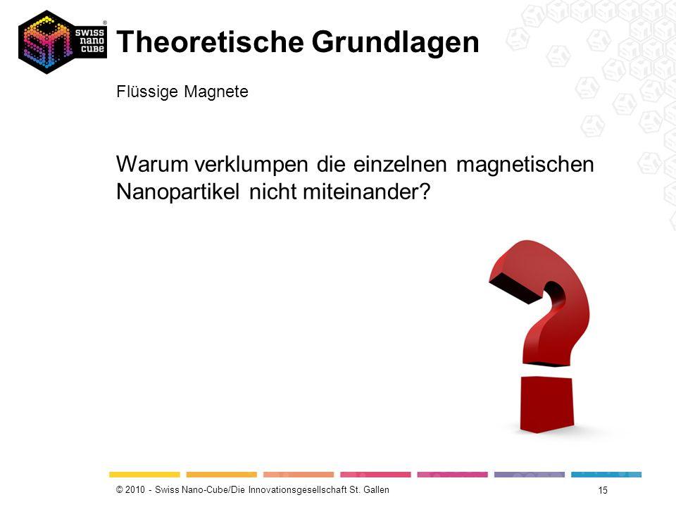 © 2010 - Swiss Nano-Cube/Die Innovationsgesellschaft St. Gallen 15 Theoretische Grundlagen Flüssige Magnete Warum verklumpen die einzelnen magnetische