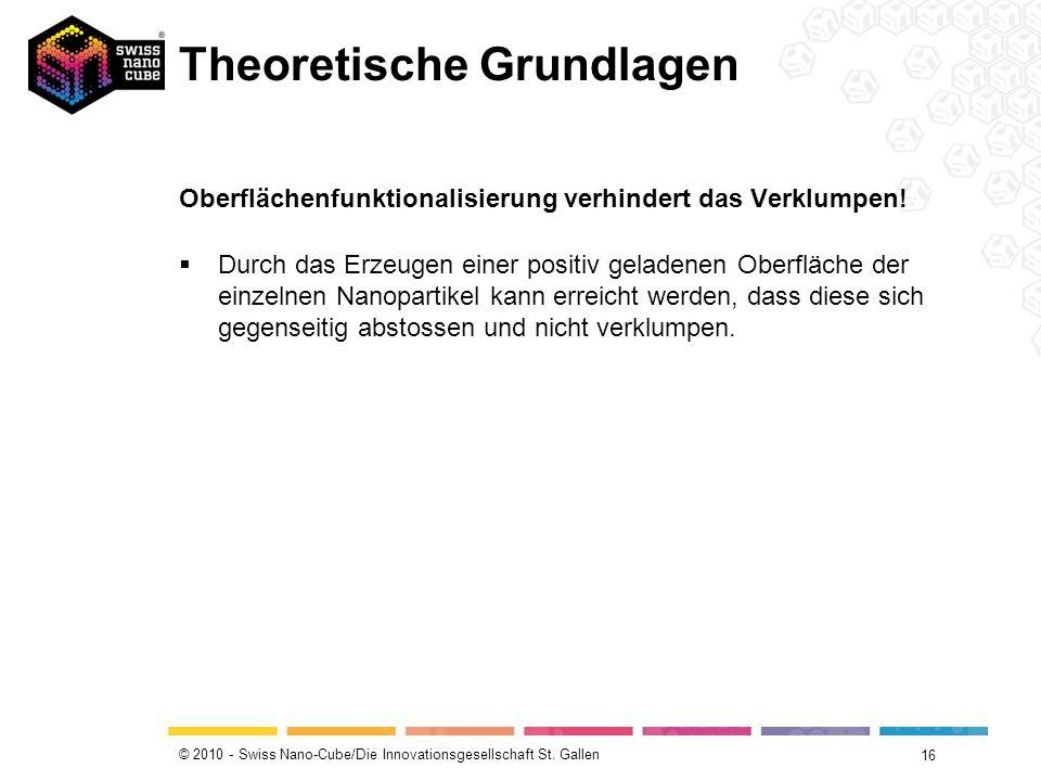 © 2010 - Swiss Nano-Cube/Die Innovationsgesellschaft St. Gallen Theoretische Grundlagen 16 Oberflächenfunktionalisierung verhindert das Verklumpen! Du